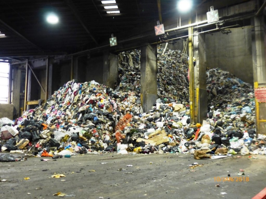 The Energy from waste tipping hall at Kirklees