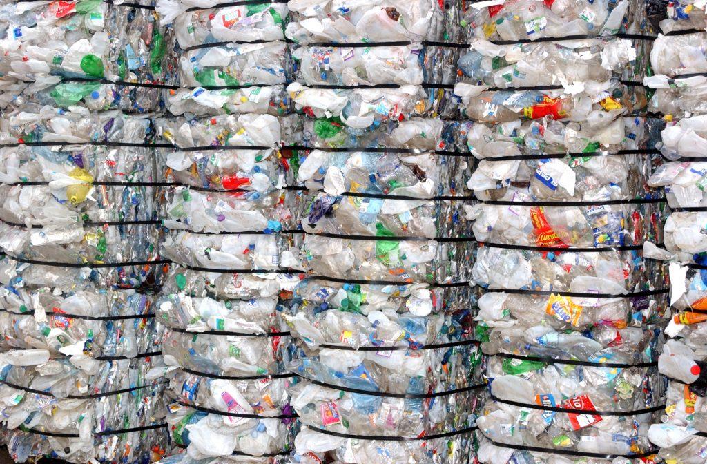 Large bales of plastic bottles